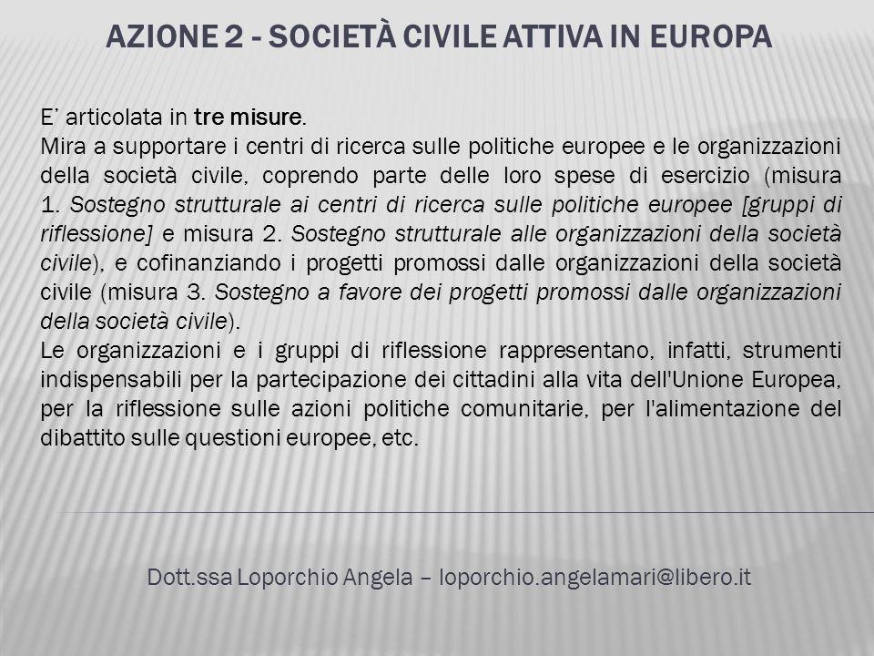 AZIONE 2 - SOCIETÀ CIVILE ATTIVA IN EUROPA Dott.ssa Loporchio Angela – loporchio.angelamari@libero.it E articolata in tre misure. Mira a supportare i