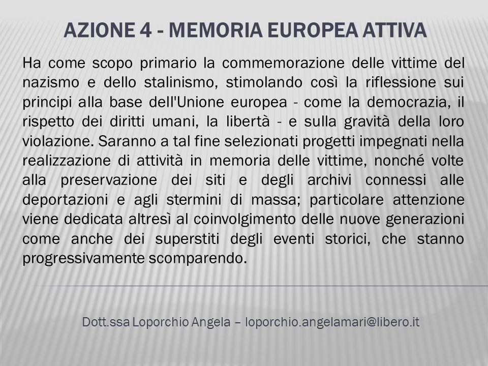 AZIONE 4 - MEMORIA EUROPEA ATTIVA Dott.ssa Loporchio Angela – loporchio.angelamari@libero.it Ha come scopo primario la commemorazione delle vittime de