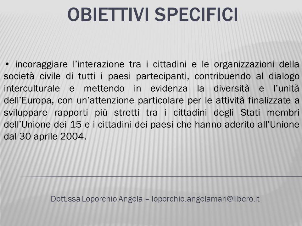 OBIETTIVI SPECIFICI Dott.ssa Loporchio Angela – loporchio.angelamari@libero.it incoraggiare linterazione tra i cittadini e le organizzazioni della soc