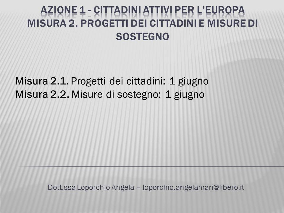 Dott.ssa Loporchio Angela – loporchio.angelamari@libero.it Misura 2.1. Progetti dei cittadini: 1 giugno Misura 2.2. Misure di sostegno: 1 giugno