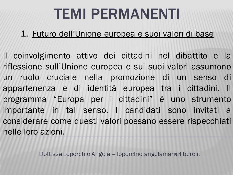 TEMI PERMANENTI Dott.ssa Loporchio Angela – loporchio.angelamari@libero.it 1.Futuro dellUnione europea e suoi valori di base Il coinvolgimento attivo
