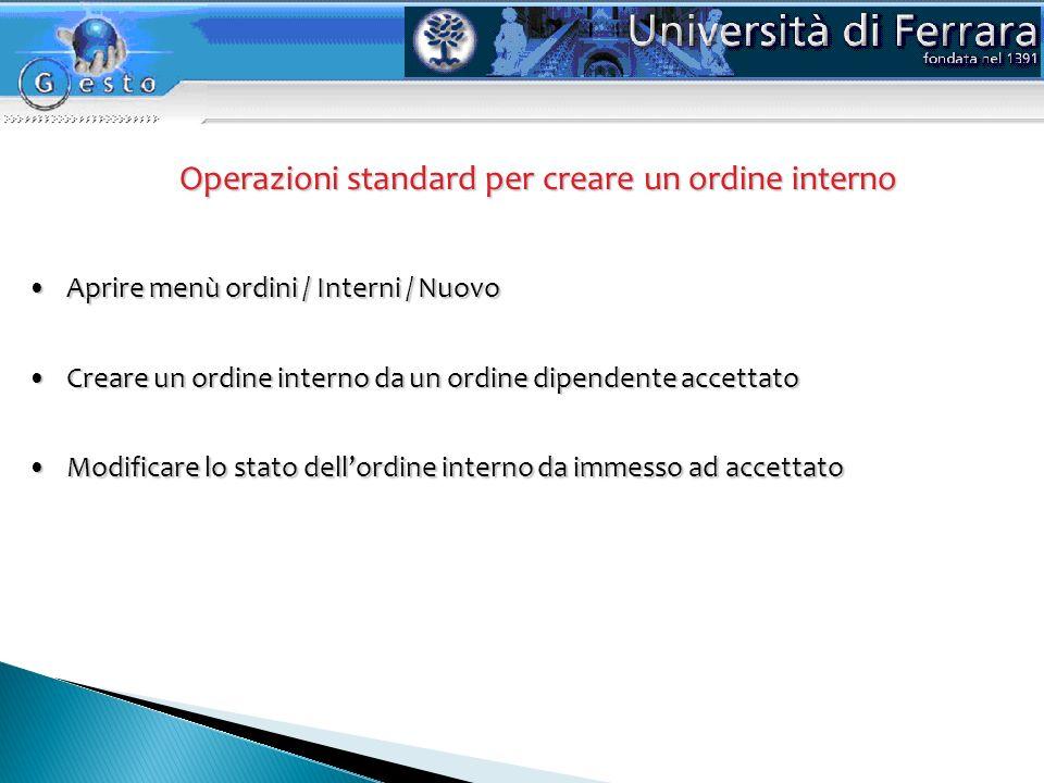 Operazioni standard per creare un ordine interno Modificare lo stato dellordine interno da immesso ad accettatoModificare lo stato dellordine interno