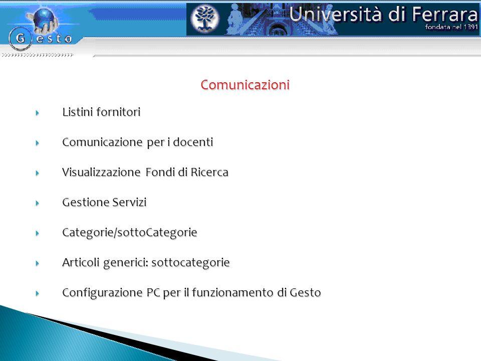 Comunicazioni Comunicazioni Listini fornitori Listini fornitori Comunicazione per i docenti Comunicazione per i docenti Visualizzazione Fondi di Ricer