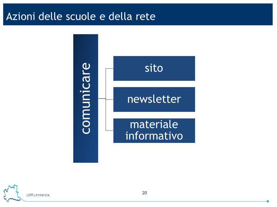 USR Lombardia 20 Azioni delle scuole e della rete comunicare sito newsletter materiale informativo