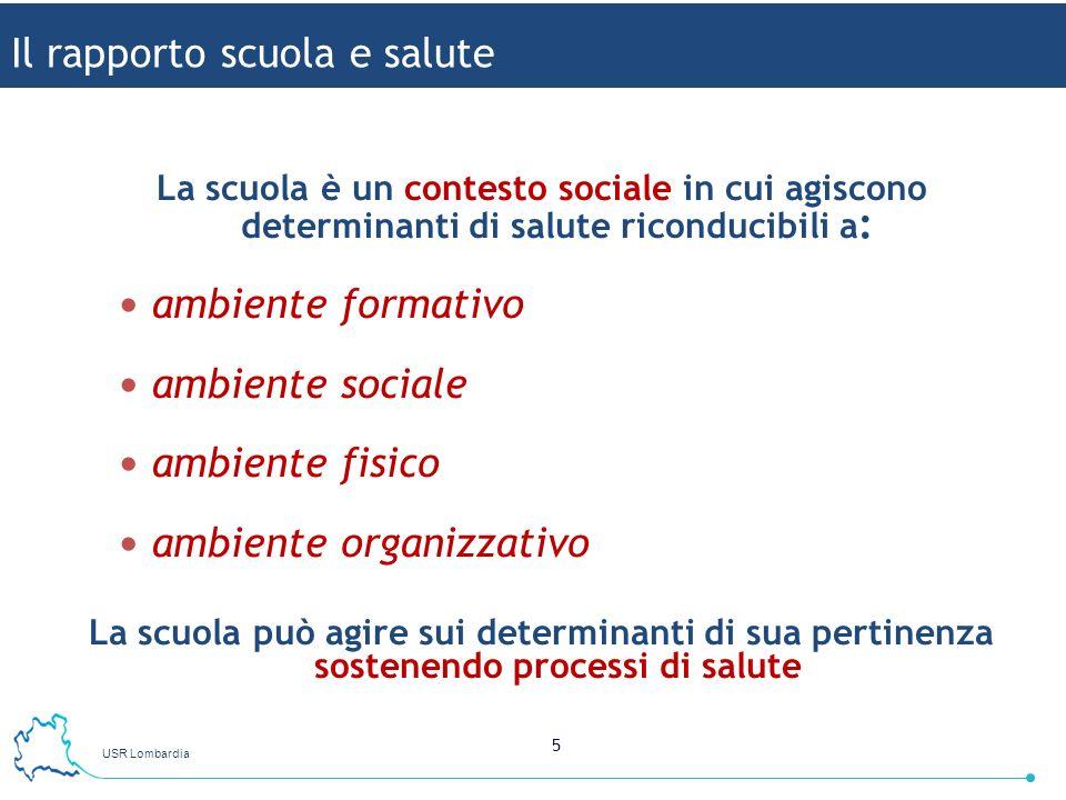 USR Lombardia 5 La scuola è un contesto sociale in cui agiscono determinanti di salute riconducibili a : ambiente formativo ambiente sociale ambiente
