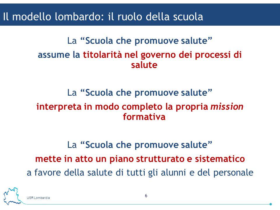 USR Lombardia 6 La Scuola che promuove salute assume la titolarità nel governo dei processi di salute La Scuola che promuove salute interpreta in modo