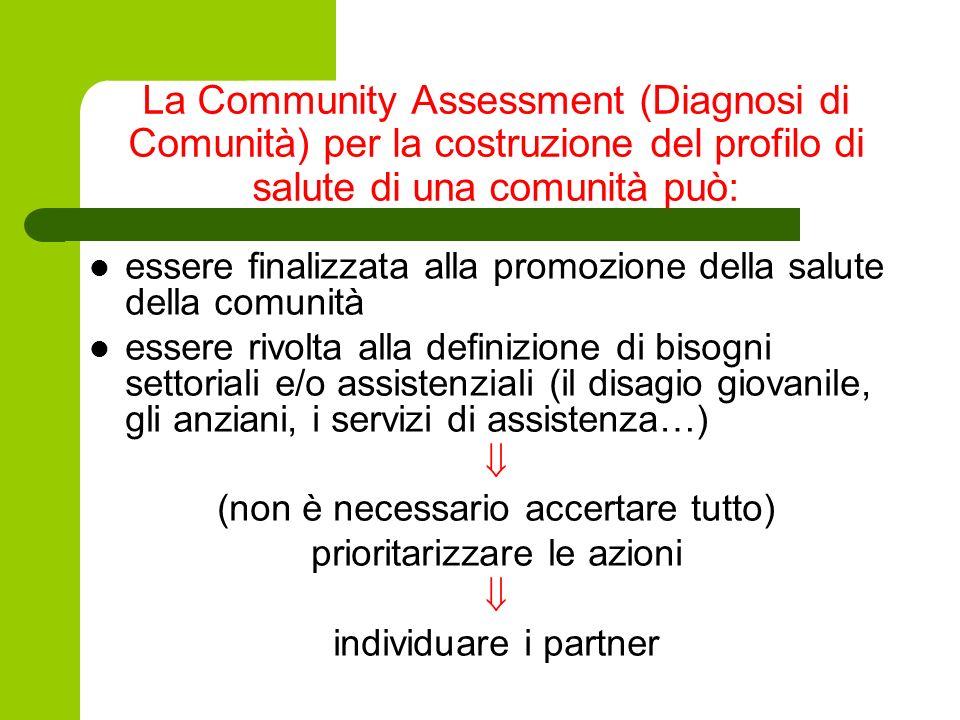 La Community Assessment (Diagnosi di Comunità) per la costruzione del profilo di salute di una comunità può: essere finalizzata alla promozione della
