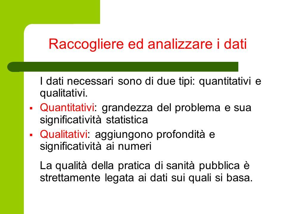 Raccogliere ed analizzare i dati I dati necessari sono di due tipi: quantitativi e qualitativi. Quantitativi: grandezza del problema e sua significati