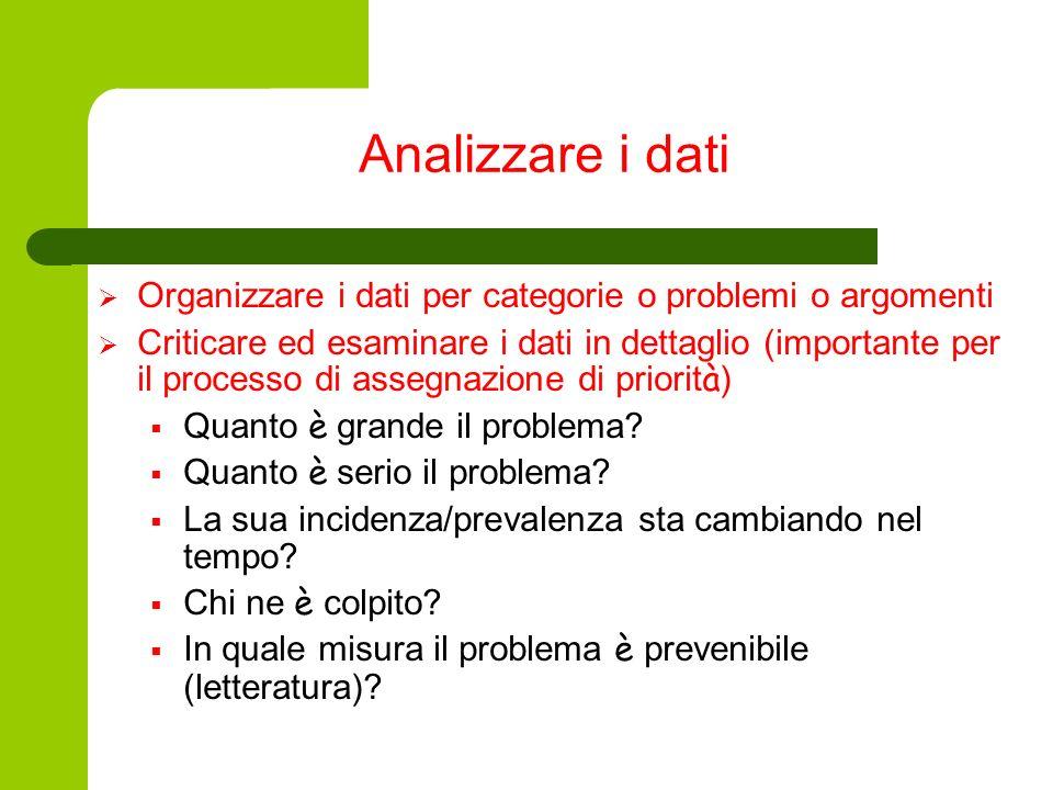 Analizzare i dati Organizzare i dati per categorie o problemi o argomenti Criticare ed esaminare i dati in dettaglio (importante per il processo di as