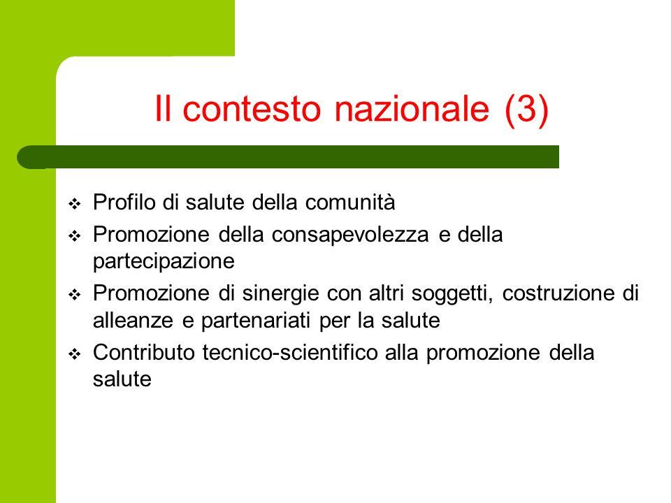 Il contesto nazionale (3) Profilo di salute della comunità Promozione della consapevolezza e della partecipazione Promozione di sinergie con altri sog