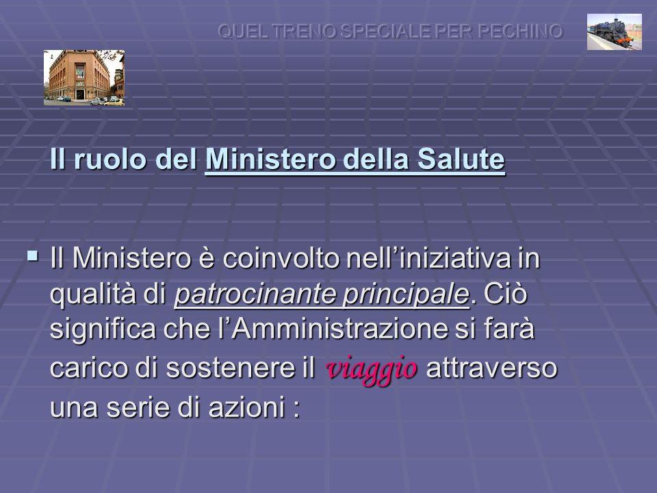 Il ruolo del Ministero della Salute Il Ministero è coinvolto nelliniziativa in qualità di patrocinante principale.