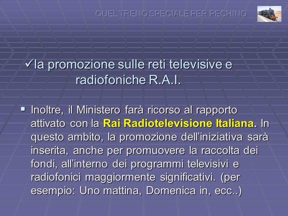 la promozione sulle reti televisive e radiofoniche R.A.I.