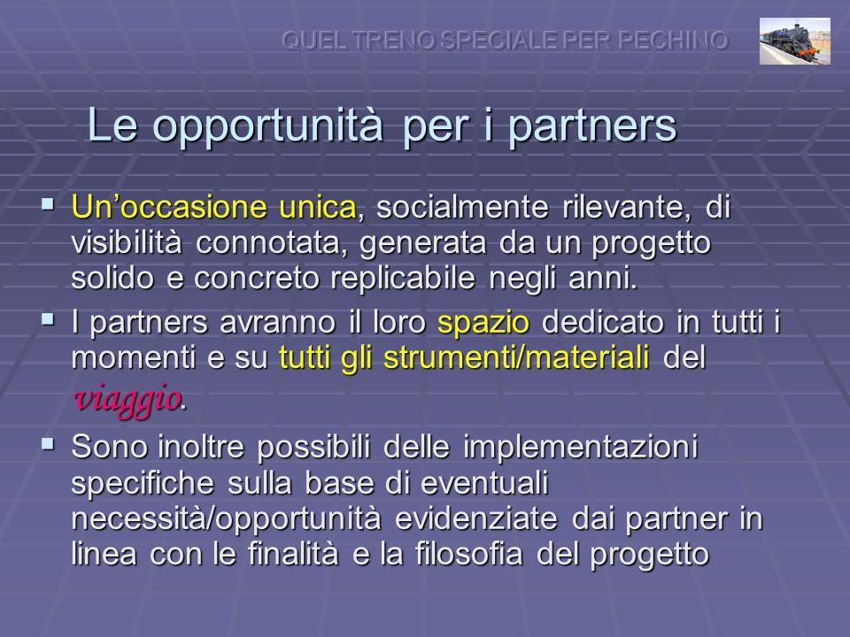 Le opportunità per i partners Unoccasione unica, socialmente rilevante, di visibilità connotata, generata da un progetto solido e concreto replicabile negli anni.