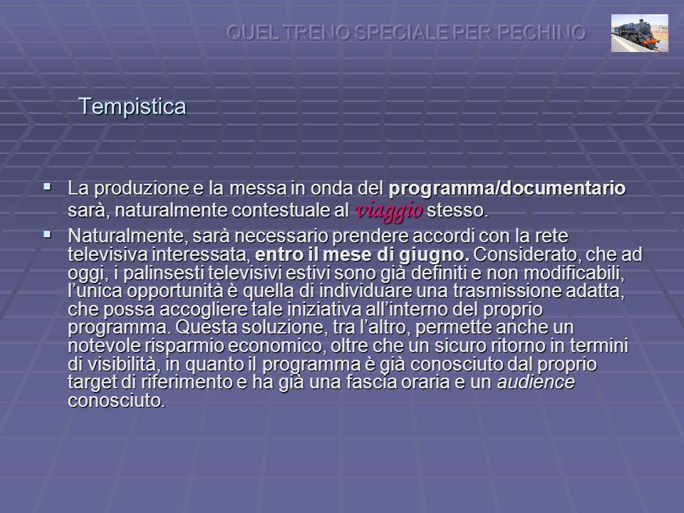 Tempistica La produzione e la messa in onda del programma/documentario sarà, naturalmente contestuale al viaggio stesso.