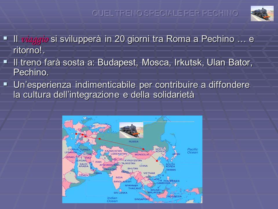 Il viaggio si svilupperà in 20 giorni tra Roma a Pechino … e ritorno!.