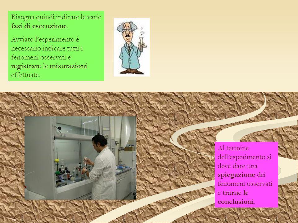 Bisogna quindi indicare le varie fasi di esecuzione. Avviato lesperimento è necessario indicare tutti i fenomeni osservati e registrare le misurazioni