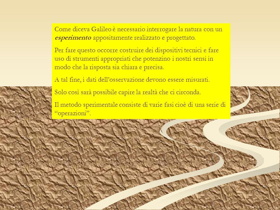 Come diceva Galileo è necessario interrogare la natura con un esperimento appositamente realizzato e progettato. Per fare questo occorre costruire dei