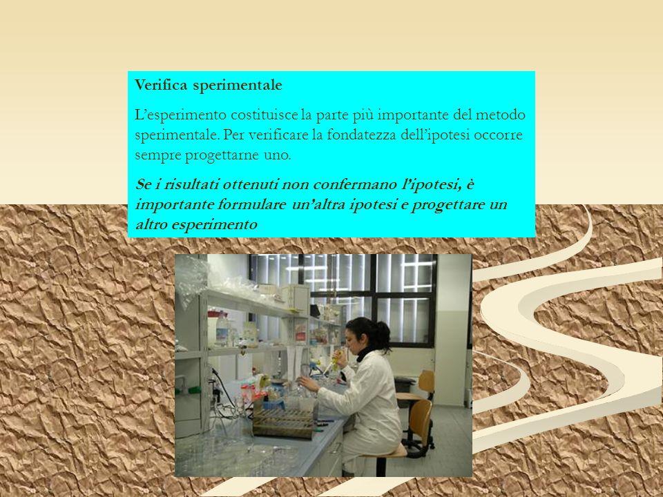 Verifica sperimentale Lesperimento costituisce la parte più importante del metodo sperimentale. Per verificare la fondatezza dellipotesi occorre sempr