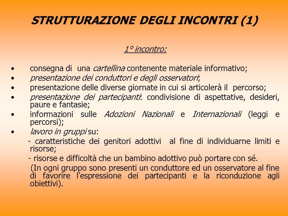 STRUTTURAZIONE DEGLI INCONTRI (1) 1° incontro: consegna di una cartellina contenente materiale informativo; presentazione dei conduttori e degli osser