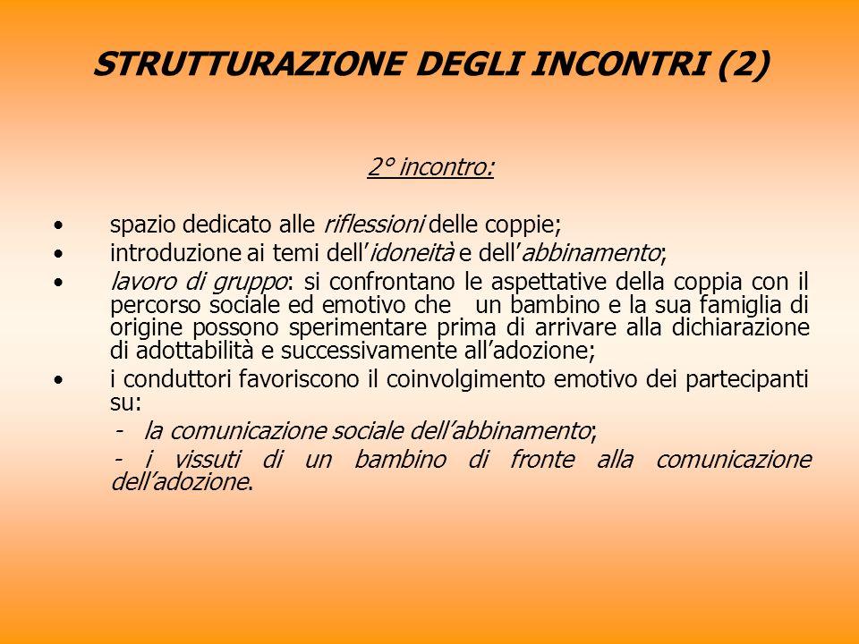 STRUTTURAZIONE DEGLI INCONTRI (2) 2° incontro: spazio dedicato alle riflessioni delle coppie; introduzione ai temi dellidoneità e dellabbinamento; lav