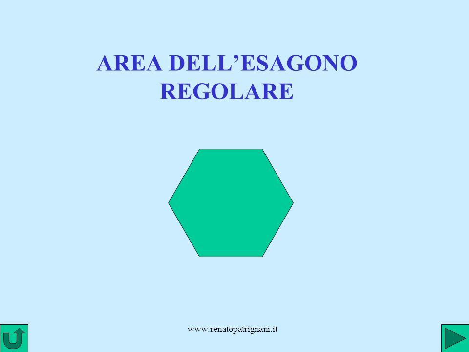 www.renatopatrignani.it APOTEMA DELLESAGONO REGOLARE a Lesagono regolare si può suddividere in 6 triangoli isosceli uguali, la cui altezza corrisponde allapotema dellesagono (cioè al raggio della circonferenza inscritta)