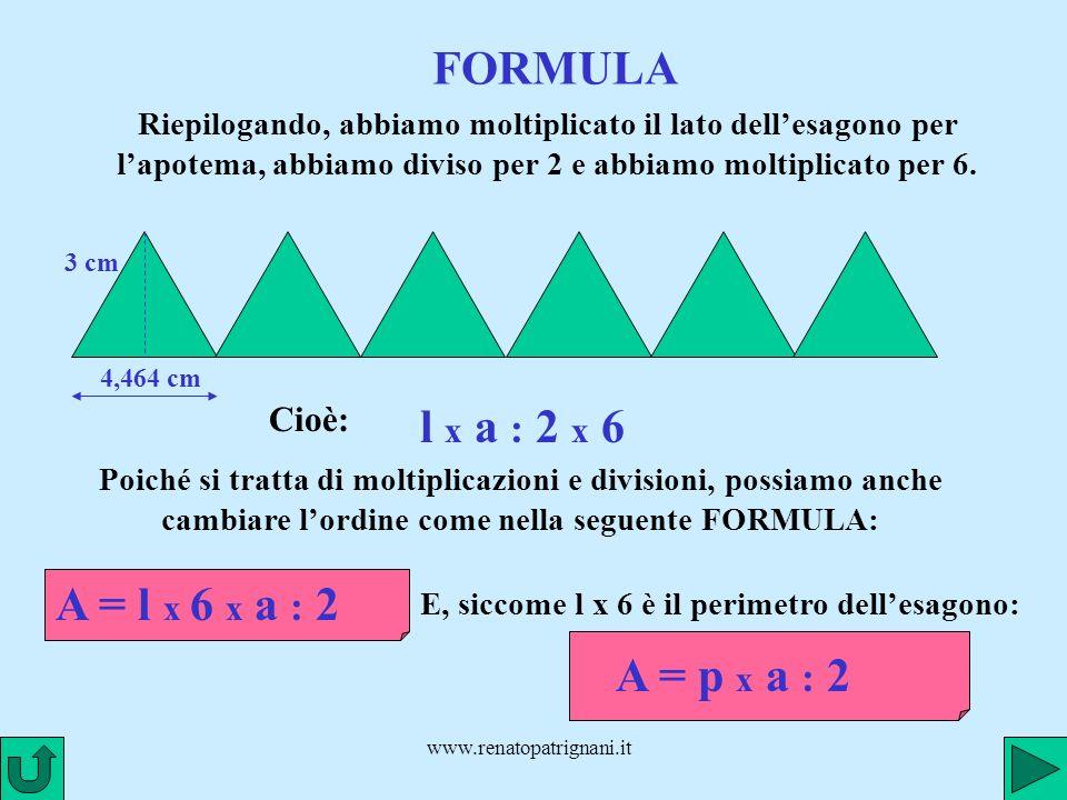 www.renatopatrignani.it SECONDA SCOMPOSIZIONE l = 3,464 cm a Scomponiamo lesagono regolare in sei triangoli isosceli uguali e disponiamoli ad incastro Laltezza di ciascun triangolo è lapotema dellesagono.