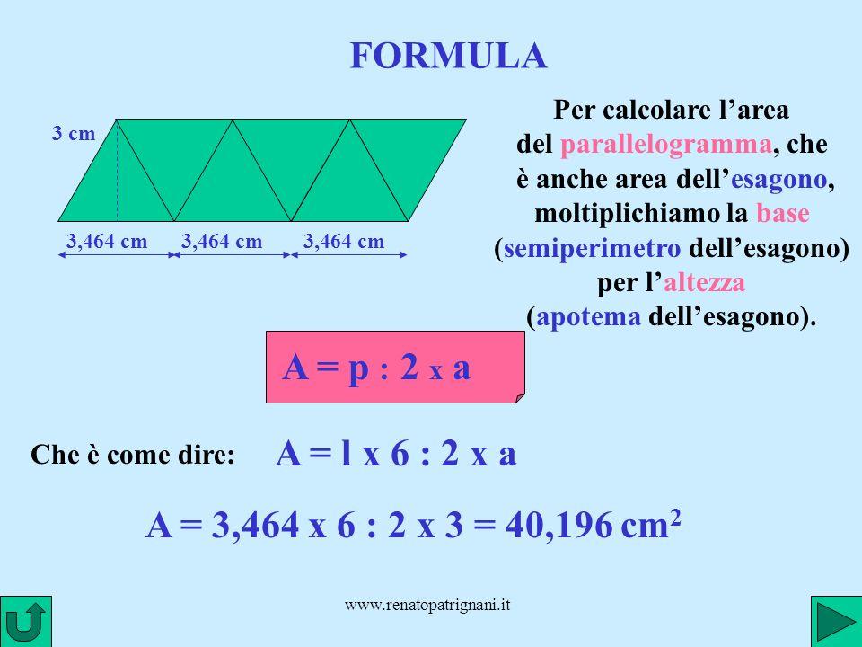 www.renatopatrignani.it FORMULE 3,464 cm 3 cm 3,464 cm Ecco diversi modi di scrivere la formula per calcolare larea dellesagono regolare: A = p : 2 x aA = l x 6 : 2 x aA = l x 3 x a A = p x a : 2A = l x 6 x a : 2 A = a : 2 x pA = a : 2 x l x 6