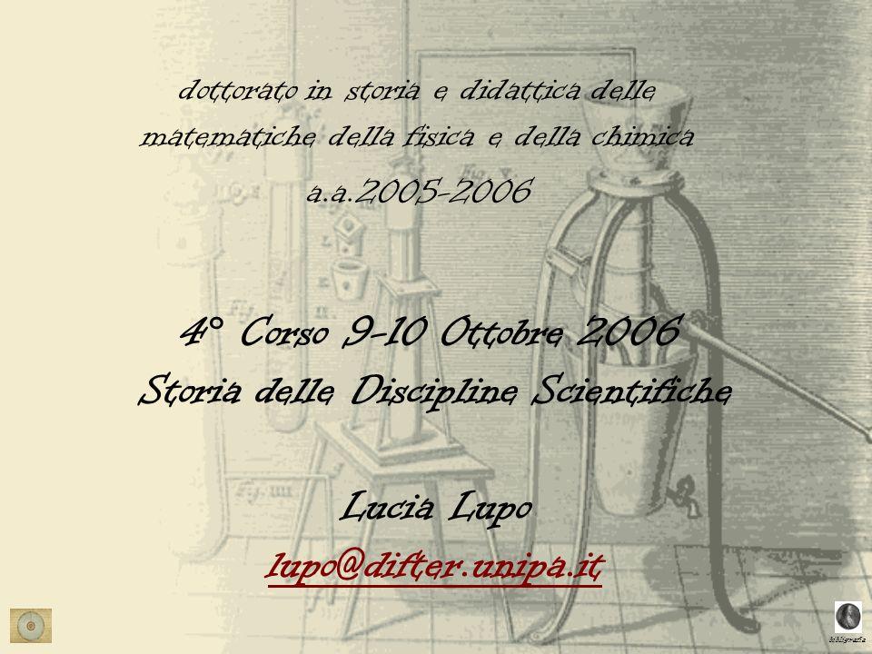 bibligrafia 4° Corso 9-10 Ottobre 2006 Storia delle Discipline Scientifiche Lucia Lupo lupo@difter.unipa.it lupo@difter.unipa.it dottorato in storia e didattica delle matematiche della fisica e della chimica a.a.2005-2006