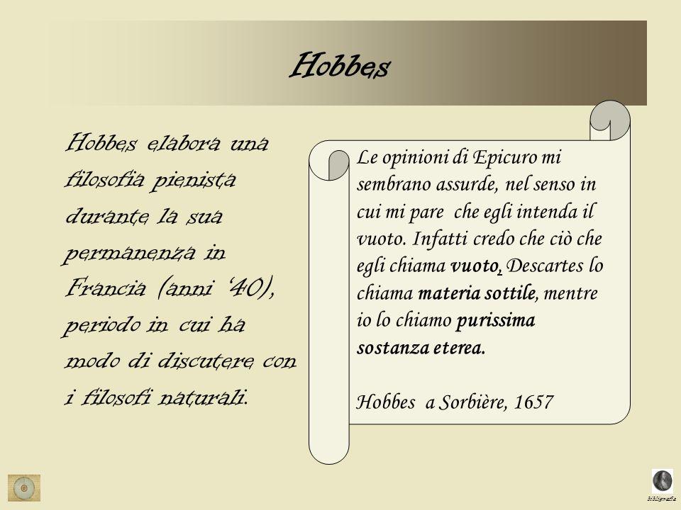 bibligrafia Hobbes Le opinioni di Epicuro mi sembrano assurde, nel senso in cui mi pare che egli intenda il vuoto. Infatti credo che ciò che egli chia
