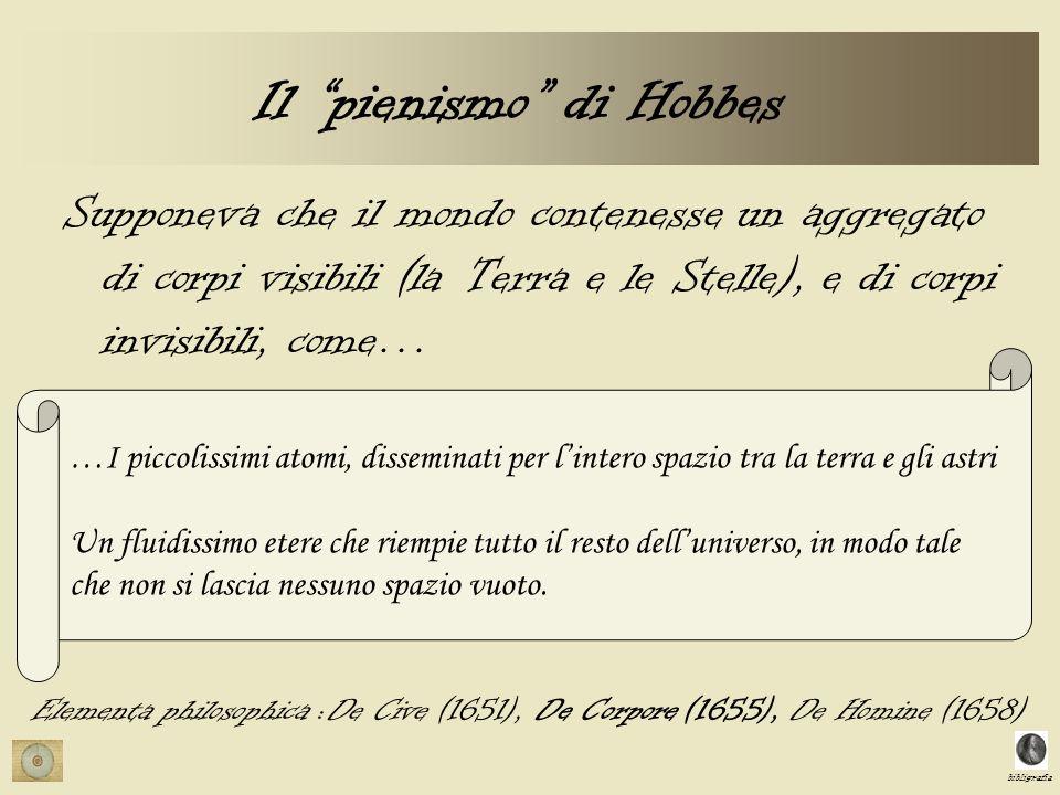 bibligrafia Il pienismo di Hobbes Supponeva che il mondo contenesse un aggregato di corpi visibili (la Terra e le Stelle), e di corpi invisibili, come