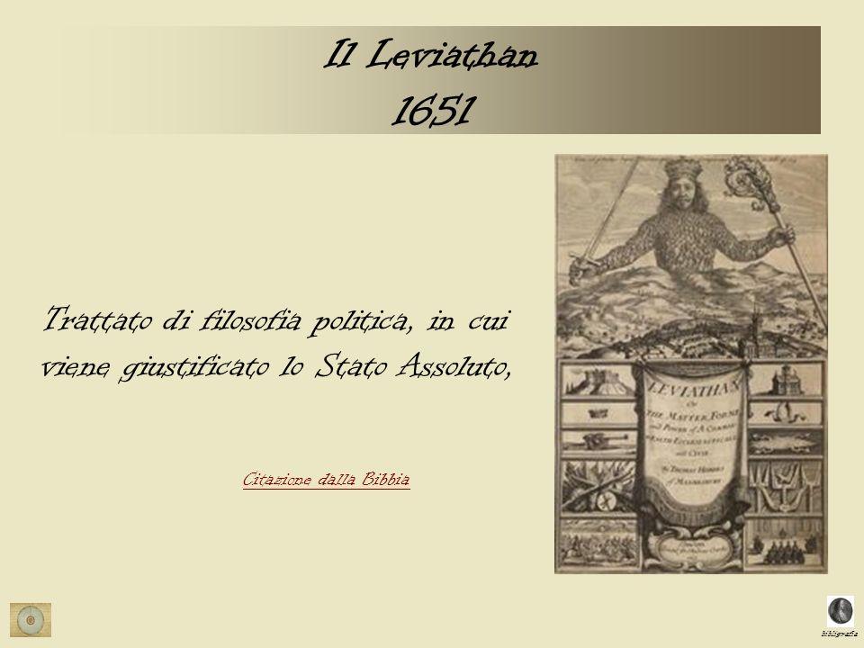 bibligrafia Il Leviathan 1651 Trattato di filosofia politica, in cui viene giustificato lo Stato Assoluto, Citazione dalla Bibbia