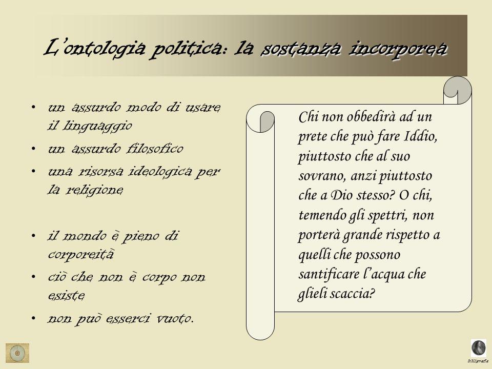 bibligrafia sostanza incorporea Lontologia politica: la sostanza incorporea un assurdo modo di usare il linguaggio un assurdo filosofico una risorsa i
