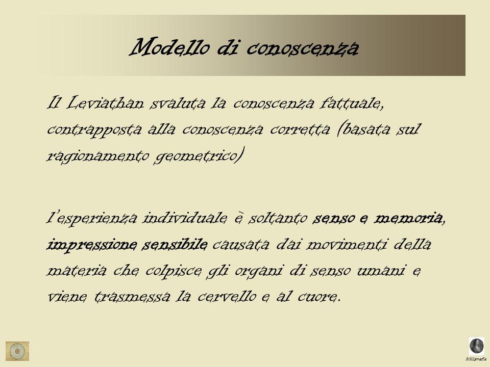 bibligrafia Modello di conoscenza Il Leviathan svaluta la conoscenza fattuale, contrapposta alla conoscenza corretta (basata sul ragionamento geometri