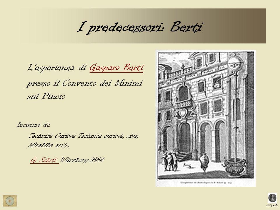 bibligrafia I predecessori: Berti L'esperienza di Gasparo BertiGasparo Berti presso il Convento dei Minimi sul Pincio Incisione da Technica Curiosa Te