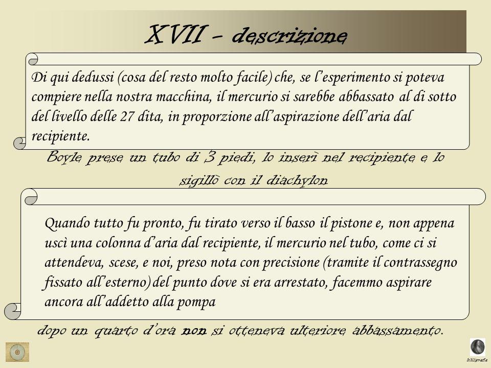 bibligrafia XVII - descrizione Di qui dedussi (cosa del resto molto facile) che, se lesperimento si poteva compiere nella nostra macchina, il mercurio