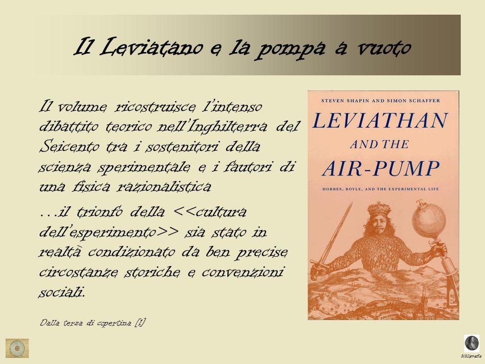 bibligrafia Il Leviatano e la pompa a vuoto Il volume ricostruisce lintenso dibattito teorico nellInghilterra del Seicento tra i sostenitori della sci