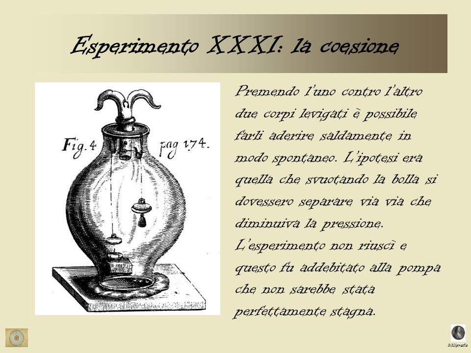 bibligrafia Esperimento XXXI: la coesione Premendo luno contro laltro due corpi levigati è possibile farli aderire saldamente in modo spontaneo. Lipot