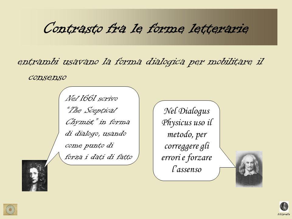 bibligrafia Contrasto fra le forme letterarie entrambi usavano la forma dialogica per mobilitare il consenso Nel 1661 scrivoThe Sceptical Chymist in forma di dialogo, usando come punto di forza i dati di fatto Nel Dialogus Physicus uso il metodo, per correggere gli errori e forzare lassenso