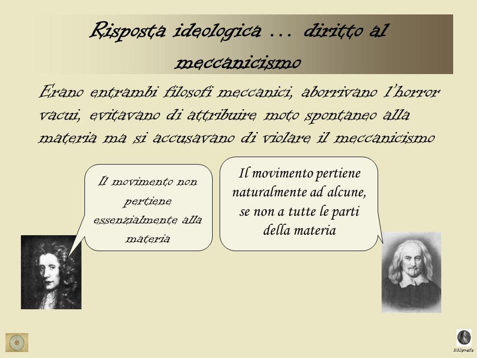 bibligrafia Risposta ideologica … diritto al meccanicismo Erano entrambi filosofi meccanici, aborrivano lhorror vacui, evitavano di attribuire moto sp