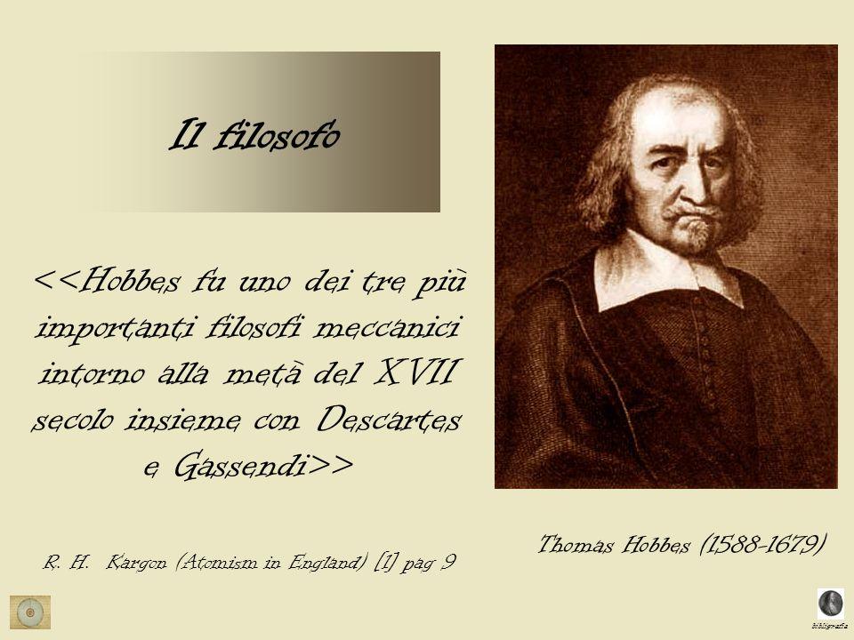 bibligrafia Il filosofo > R. H. Kargon (Atomism in England) [1] pag 9 Thomas Hobbes (1588-1679)