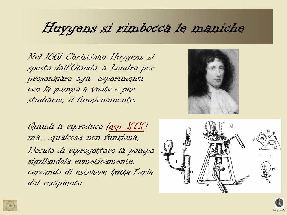 bibligrafia Huygens si rimbocca le maniche Nel 1661 Christiaan Huygens si sposta dallOlanda a Londra per presenziare agli esperimenti con la pompa a v