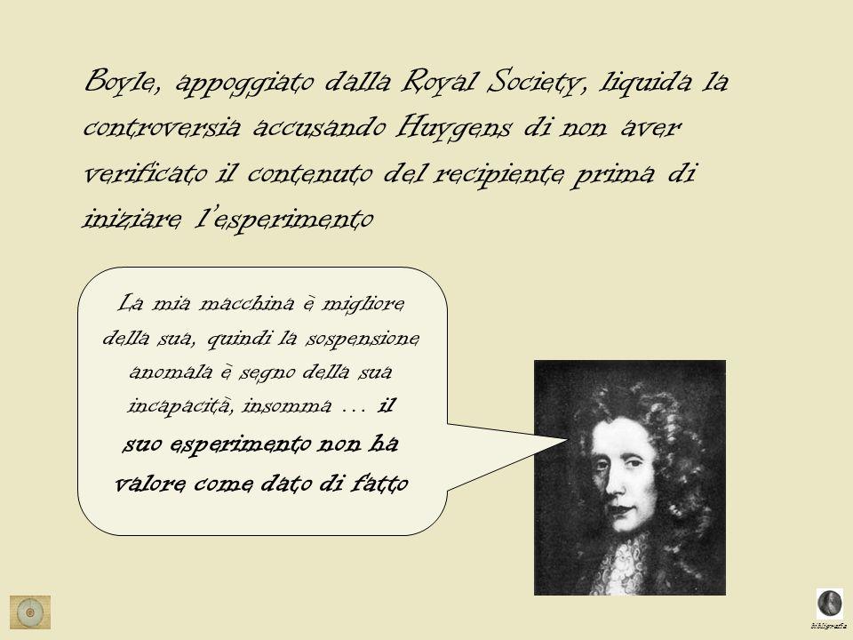 bibligrafia La mia macchina è migliore della sua, quindi la sospensione anomala è segno della sua incapacità, insomma … il suo esperimento non ha valore come dato di fatto Boyle, appoggiato dalla Royal Society, liquida la controversia accusando Huygens di non aver verificato il contenuto del recipiente prima di iniziare lesperimento