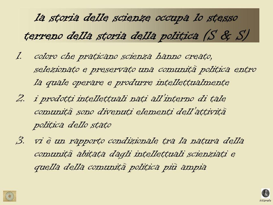 bibligrafia la storia delle scienze occupa lo stesso terreno della storia della politica (S & S) 1.coloro che praticano scienza hanno creato, selezion