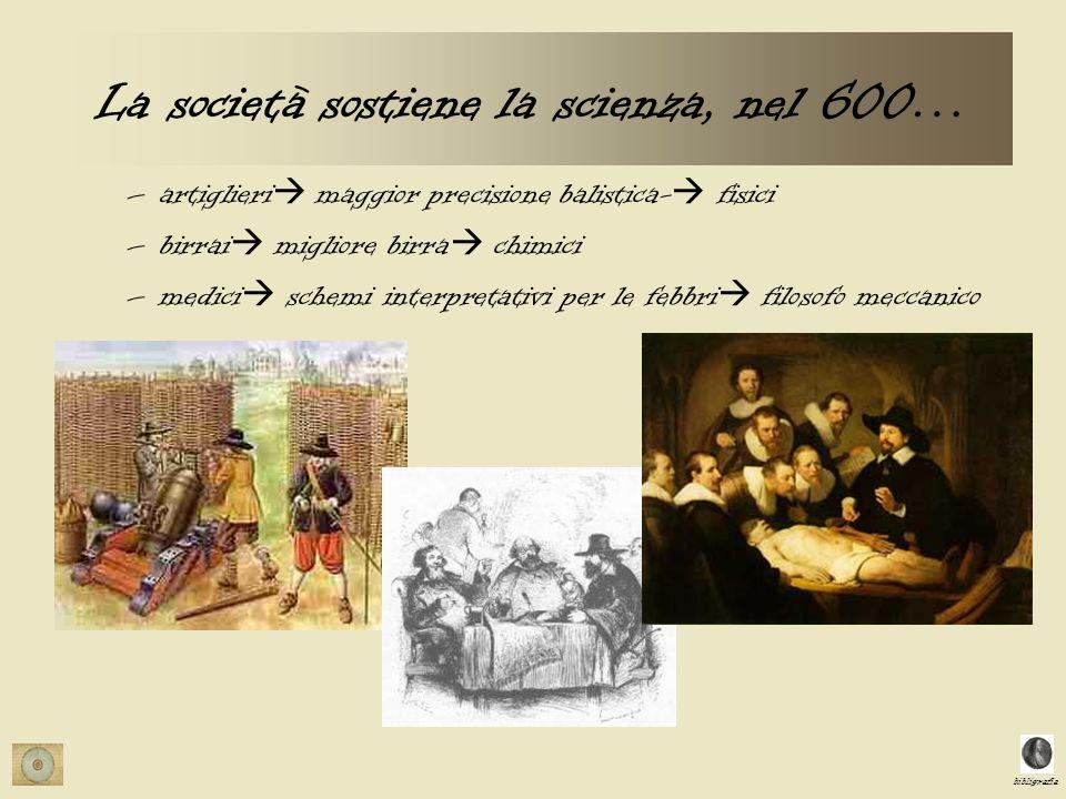 bibligrafia La società sostiene la scienza, nel 600… –artiglieri maggior precisione balistica- fisici –birrai migliore birra chimici –medici schemi interpretativi per le febbri filosofo meccanico