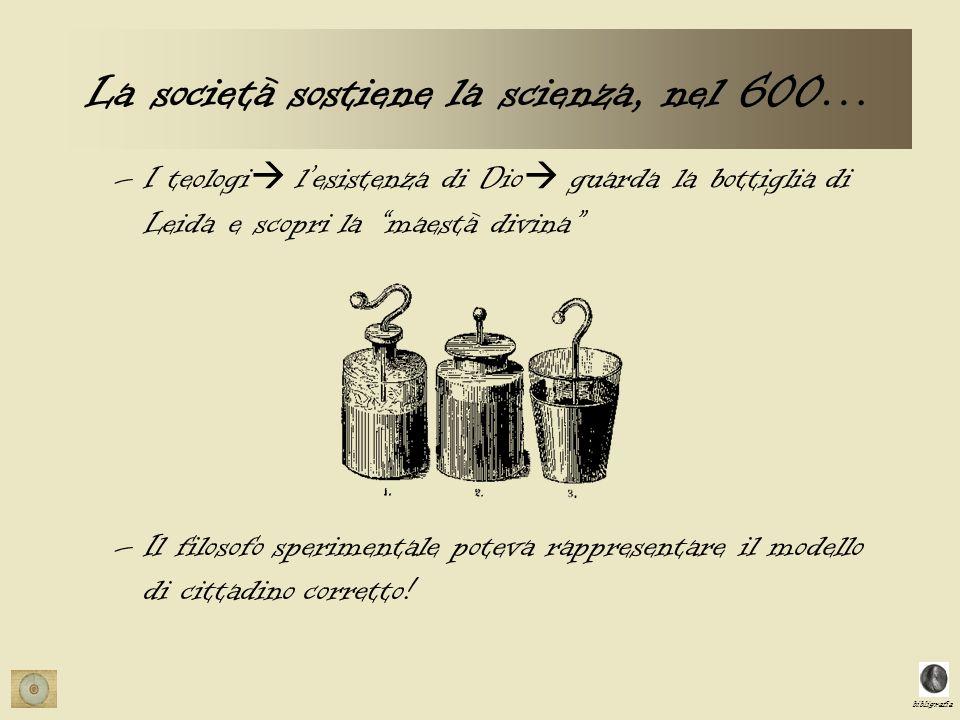 bibligrafia La società sostiene la scienza, nel 600… –I teologi lesistenza di Dio guarda la bottiglia di Leida e scopri la maestà divina –Il filosofo sperimentale poteva rappresentare il modello di cittadino corretto!
