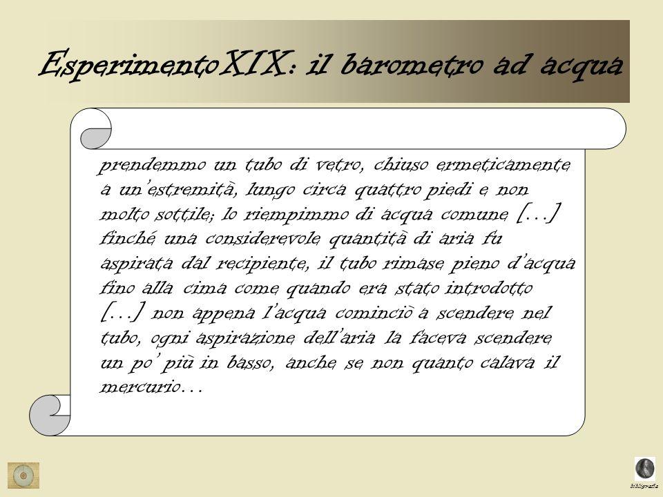 bibligrafia ESPERIMENTO XXII laria può essere contenuta nellacqua.