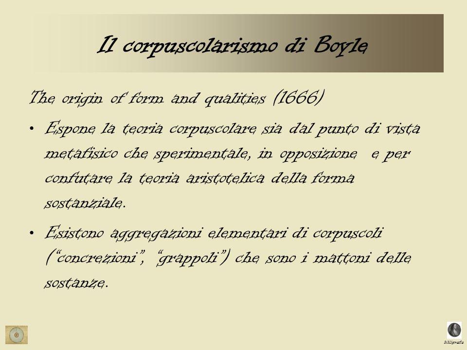 bibligrafia Il corpuscolarismo di Boyle The origin of form and qualities (1666) Espone la teoria corpuscolare sia dal punto di vista metafisico che sperimentale, in opposizione e per confutare la teoria aristotelica della forma sostanziale.