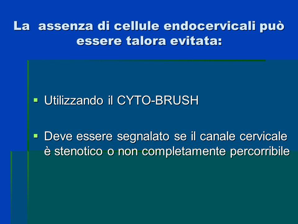 La assenza di cellule endocervicali può essere talora evitata: Utilizzando il CYTO-BRUSH Utilizzando il CYTO-BRUSH Deve essere segnalato se il canale