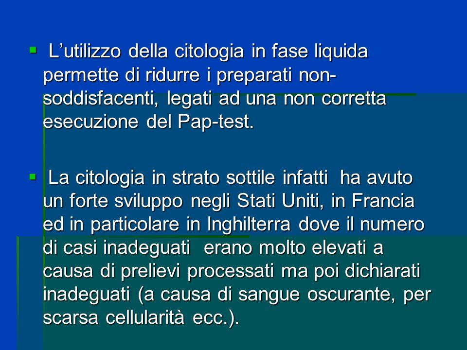 Lutilizzo della citologia in fase liquida permette di ridurre i preparati non- soddisfacenti, legati ad una non corretta esecuzione del Pap-test. Luti