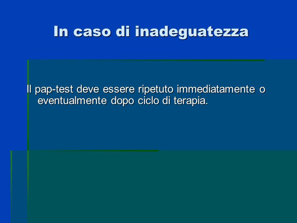 In caso di inadeguatezza Il pap-test deve essere ripetuto immediatamente o eventualmente dopo ciclo di terapia.